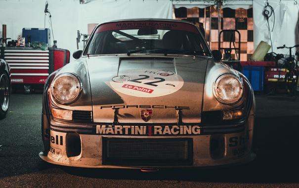 Фото обои гараж, Porsche, передок, 911 RSR