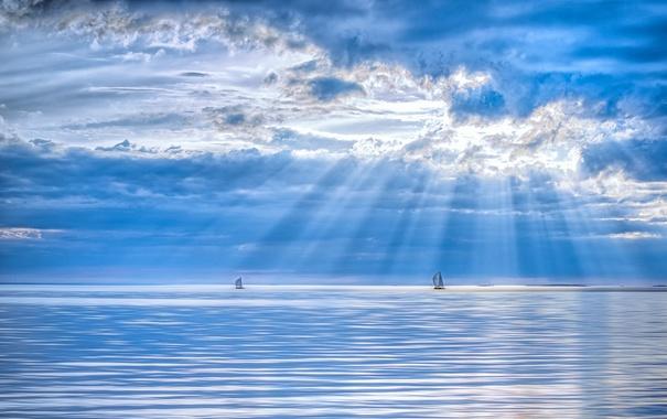 Фото обои море, небо, лодки
