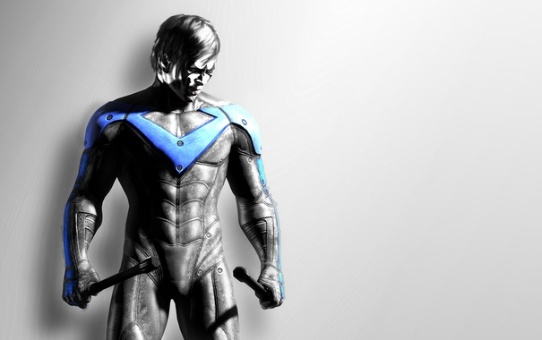 Фото обои парень, art, Batman Arkham City, nightwing