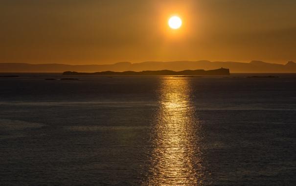 Фото обои солнце, закат, озеро, отражение, зеркало