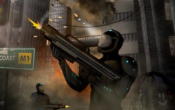 Фото обои город, оружие, монстр, арт, солдаты, Ryan Jones