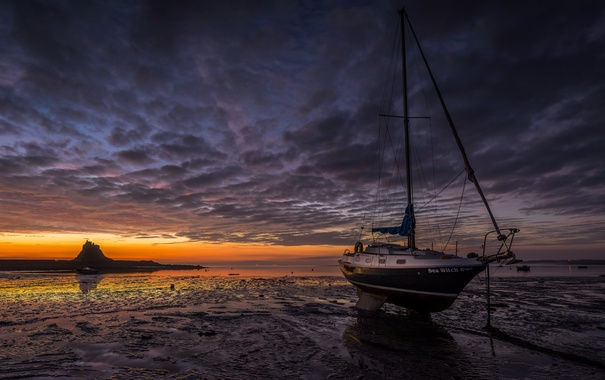 Фото обои море, ночь, лодка