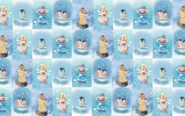 Фото обои девочка, пингвин, праздник, снег, фон, зима, детская