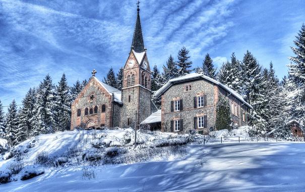 Фото обои зима, снег, деревья, горы, дом, Франция, склон