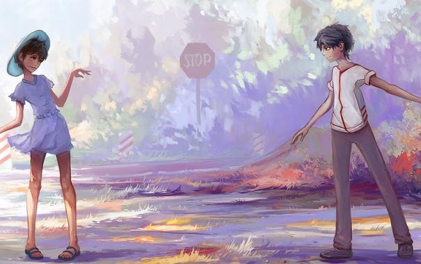 Фото обои трава, знак, мальчик, арт, девочка