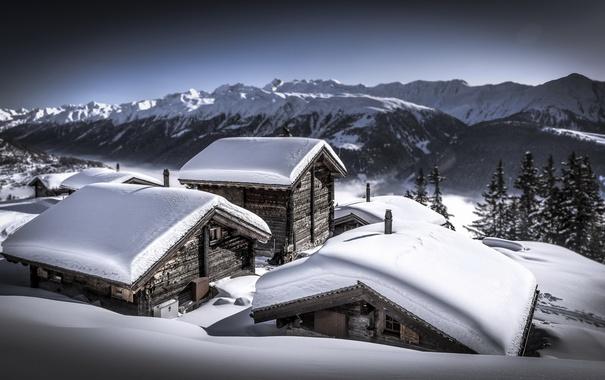 Фото обои снег, горы, дома