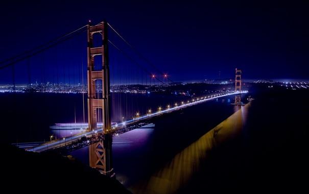 Фото обои мост, город, вечер, Сан-Франциско, Golden Gate Bridge, California, San Francisco