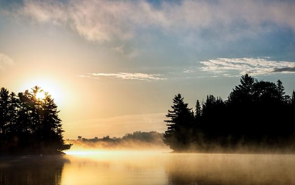Фото обои небо, облака, деревья, туман, озеро, отражение, восход