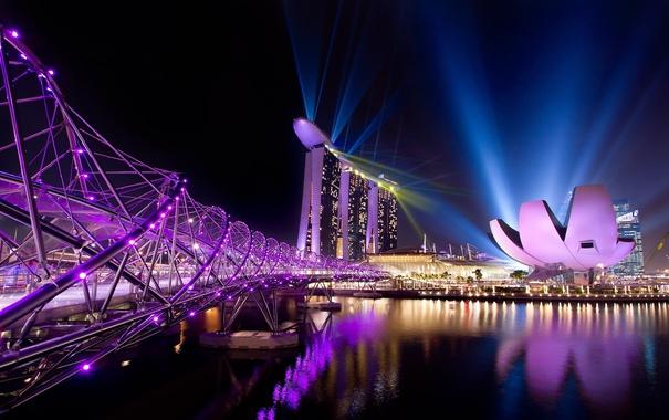 Фото обои небо, свет, мост, огни, цвет, чаша, Азия