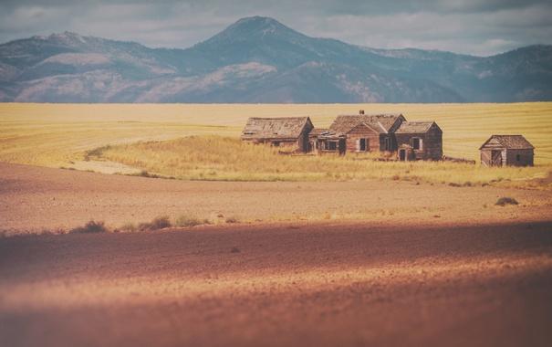 Фото обои горы, фермы, дома, поля