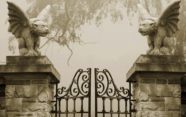 Фото обои Gray, Spooky, Gate