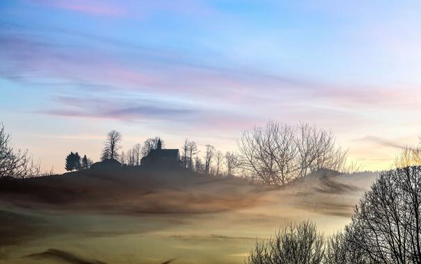 Фото обои поле, туман, утро, храм