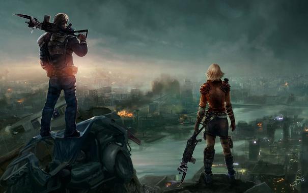 Фото обои девушка, город, река, оружие, арт, парень, спиной