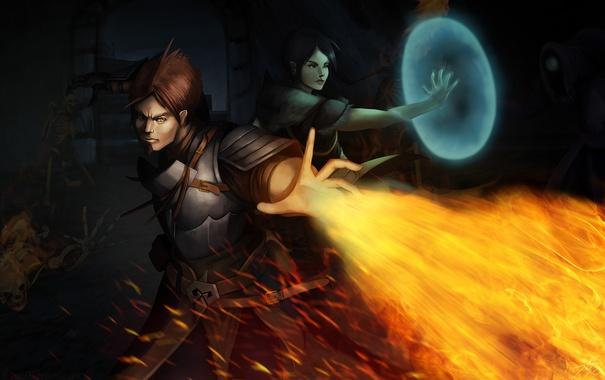 Фото обои тьма, огонь, маг, нежить, dragon age: inquisition