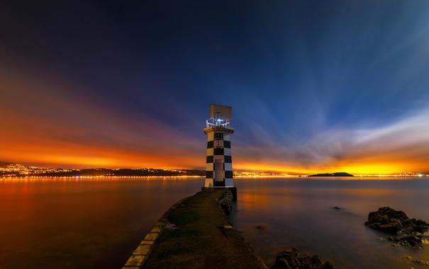 Фото обои Wellington, зарево, побережье, огни, море, Новая Зеландия, ночь