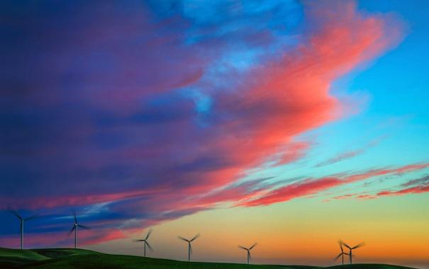 Фото обои небо, облака, закат, холмы, мельница, зарево, электрогенератор