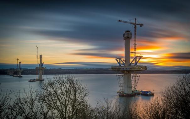 Фото обои закат, мост, река, edinburgh, New crossing