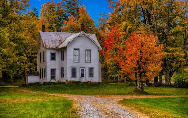 Фото обои штат Нью-Йорк, дом, Франклин, деревья, осень, США