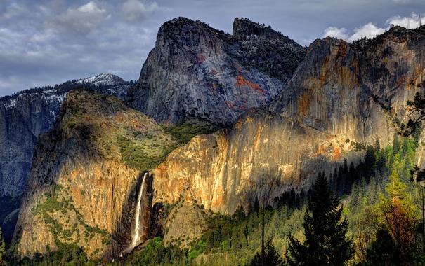 Фото обои лес, горы, природа, водопад, национальный парк