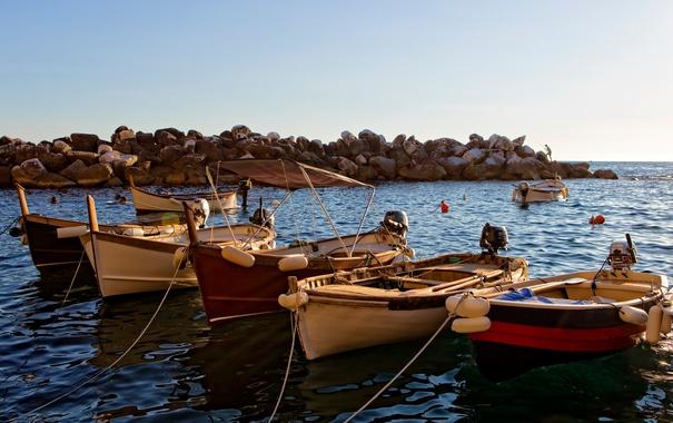 Фото обои море, лодки, гавань