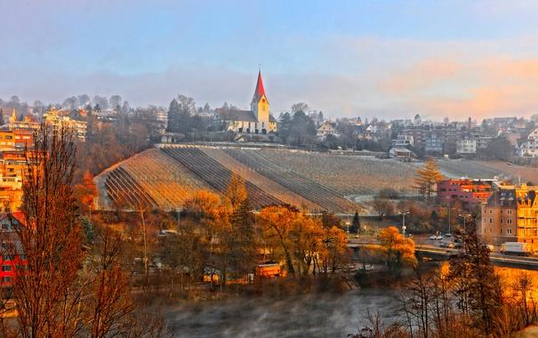 Фото обои осень, мост, город, река, дома, Швейцария, склон