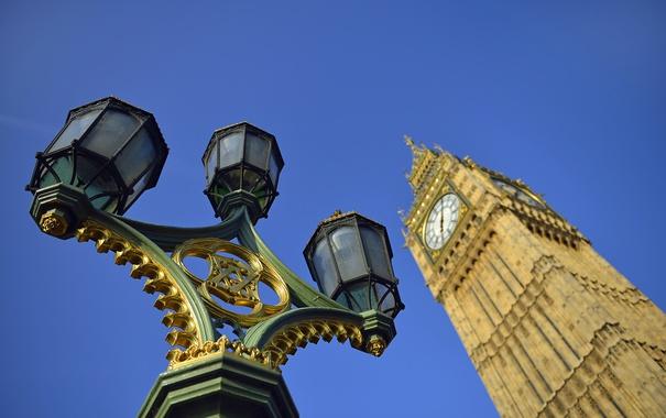 Фото обои небо, часы, англия, башня, лондон, фонарь, биг бэн