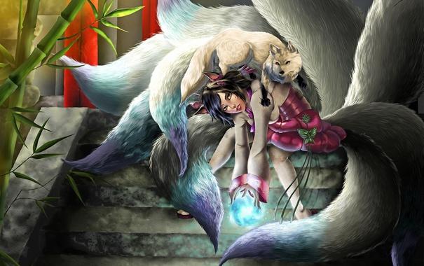 Фото обои девушка, бамбук, lol, лисица, league of legends, хвосты, ahri