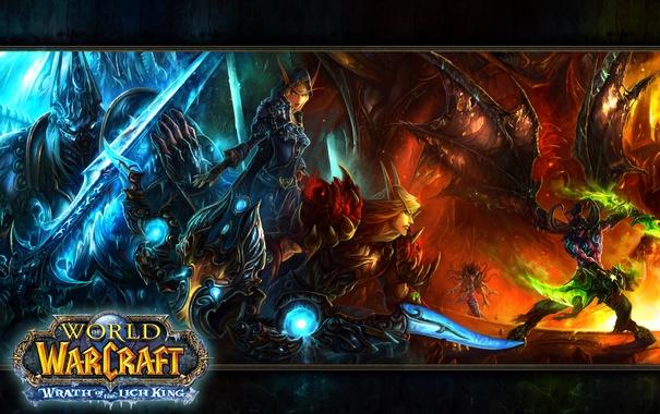 Фото обои игра, эльфийка, world of warcraft, король лич
