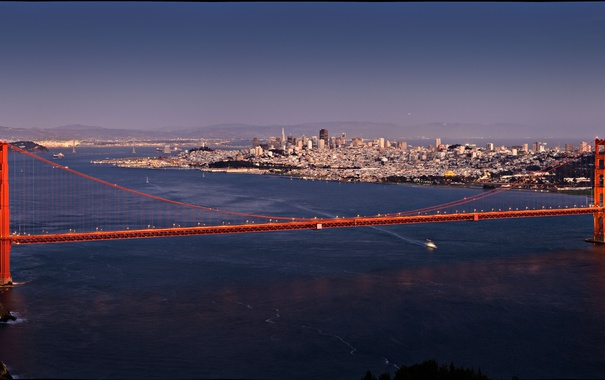 Фото обои dusk, USA, bay, San Francisco, Golden Gate Bridge, aerial, vintage