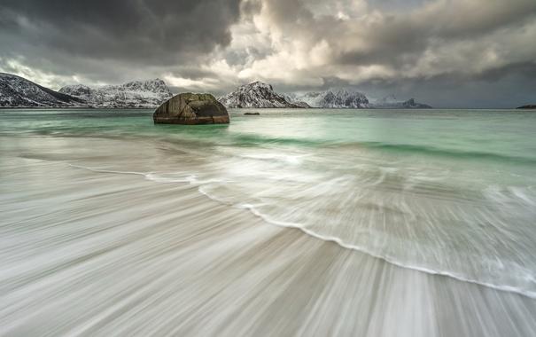 Фото обои море, небо, горы, берег