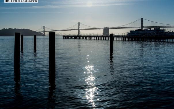 Фото обои вода, корабль, Мост