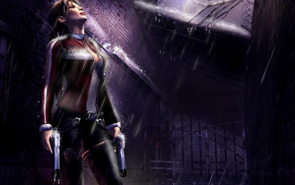 Фото обои девушка, дождь, молния, пистолеты, костюм, Лара Крофт, ветка.