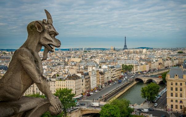 Фото обои небо, мост, река, Франция, Париж, башня, дома