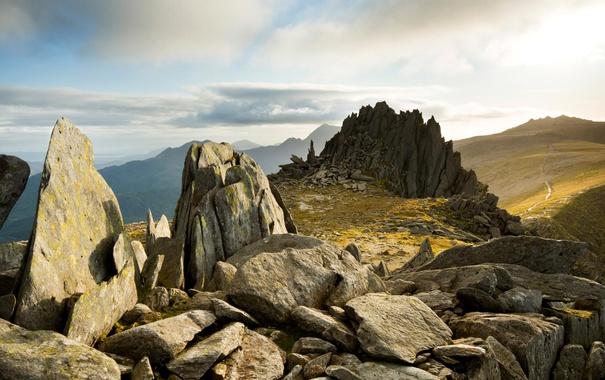 Фото обои горы, камни, скалы, Уэльс, Сноудония