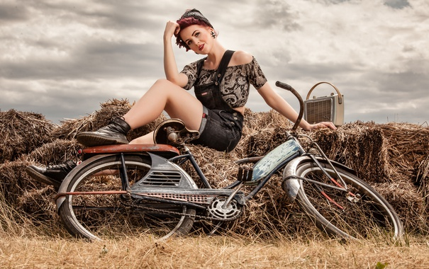 Фото обои лето, девушка, велосипед