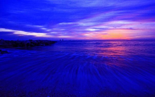 Фото обои море, небо, облака, берег, вечер, отлив, зарево
