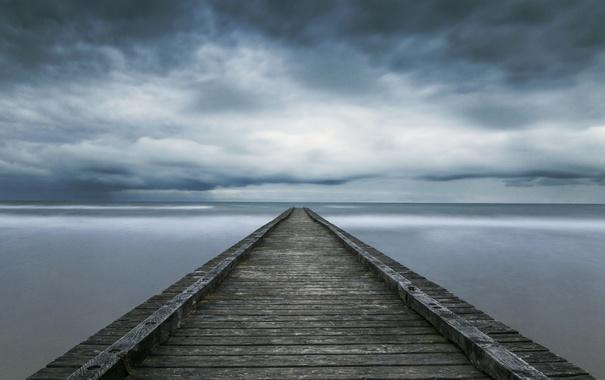 Фото обои море, небо, тучи, природа, пирс