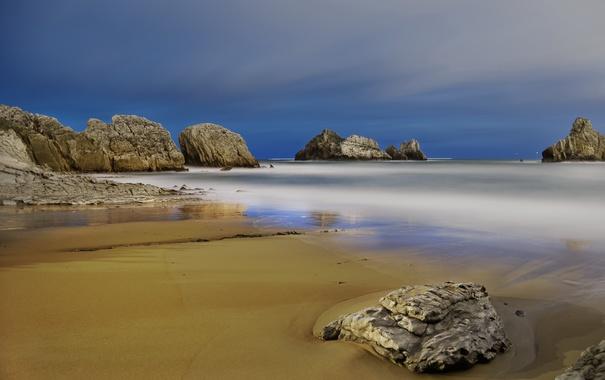 Фото обои море, пляж, пейзаж, скалы, берег