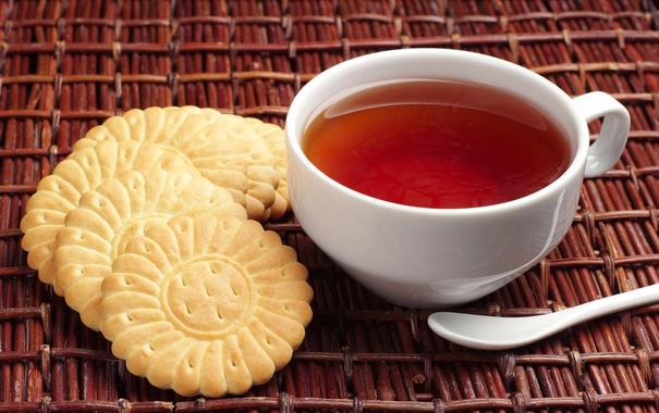Фото обои чай, печенье, ложка, чашка, белая