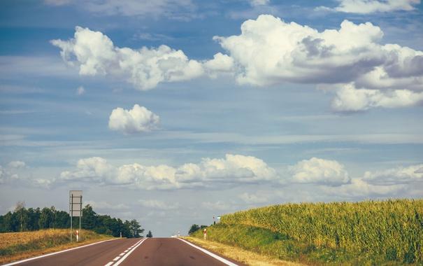 Фото обои дорога, небо, трава, облака, трасса