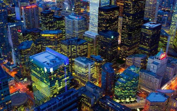Фото обои ночь, огни, дома, Канада, панорама, Онтарио, Торонто