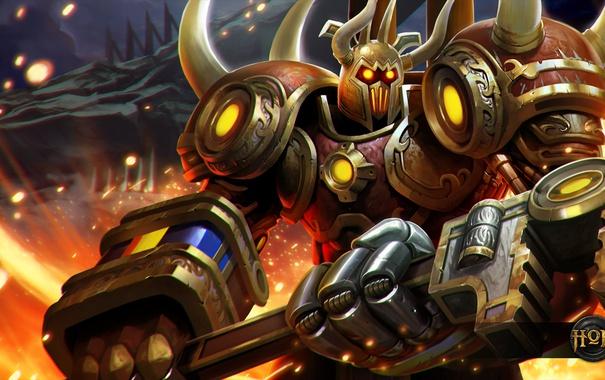 Фото обои шлем, броня, Steam, Knight, Heroes of Newerth, Pharaoh, moba