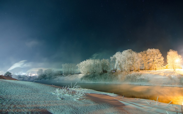 Фото обои зима, иней, снег, река, Ночь