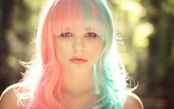 Фото обои волосы, цветные, Julia, боке, солнечный свет
