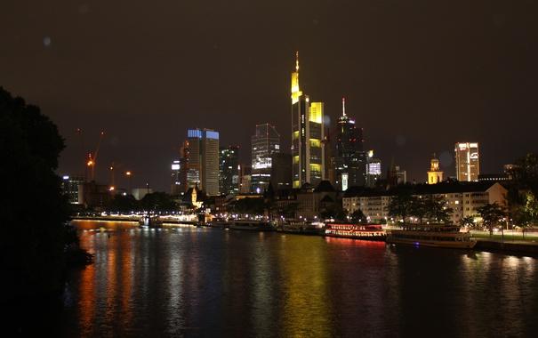 Фото обои ночь, город, река, фон, обои, темно, германия
