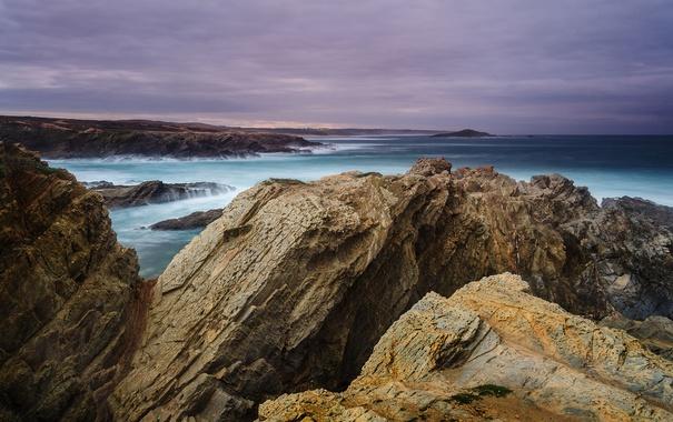 Фото обои море, закат, тучи, скалы