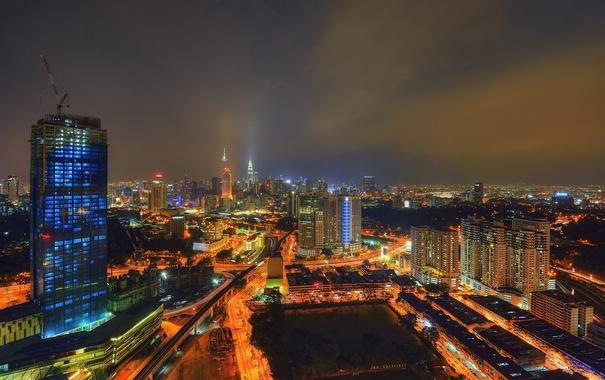 Фото обои ночь, огни, дома, панорама, Малайзия, Куала-Лумпур