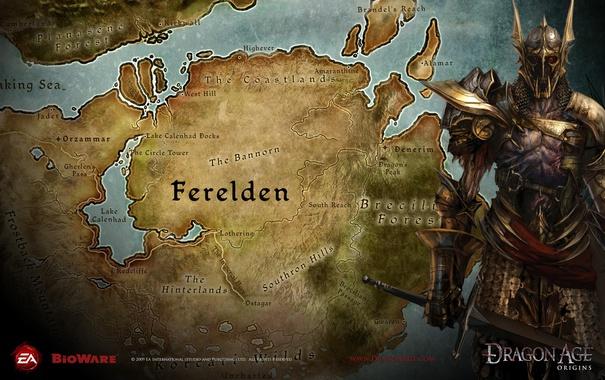 Фото обои дракон, карта, dragon age, map, век, ферелден, dao