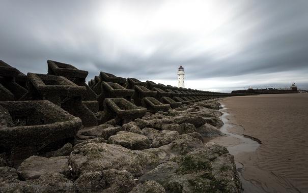 Фото обои пейзаж, берег, маяк