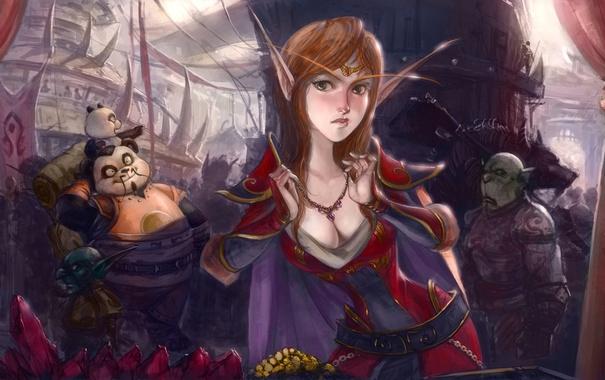 Фото обои арт, World of warcraft, гоблин, орк, ворген, базар, эльфийка крови
